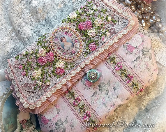Antique Victorian Style French Queen Marie Louise Silk Ribbon Roses Purse, Antique Lace, Silk Ribbonwork Hand Embroidery, Silk Rococo Trims