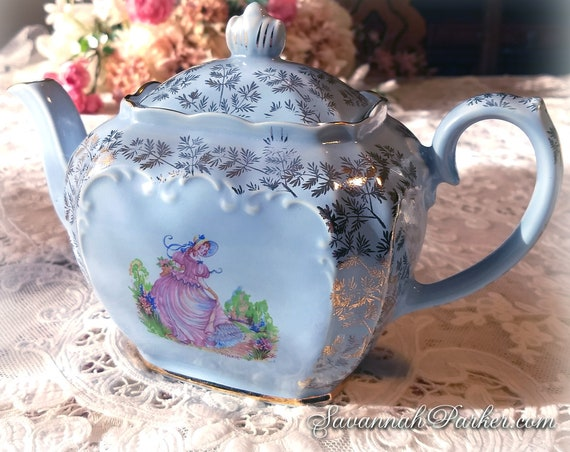 "Exquisite Vintage 1930's Sadler VERY RARE BLUE ""Pinkie"" Teapot, Gold Chintz, Mint Condition, Full Size, Cube Shape, Shabby Chic Decor"