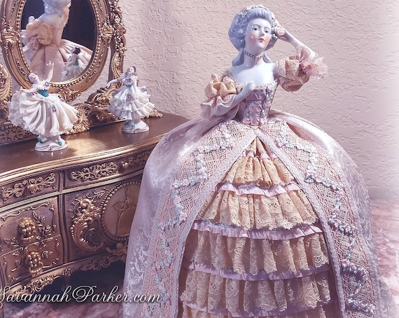 Breathtaking Antique China Marie Antoinette Half Doll--Exquisite Handsewn Champagne and Blush Silk and Antique Lace Costume--Silk Ribbonwork