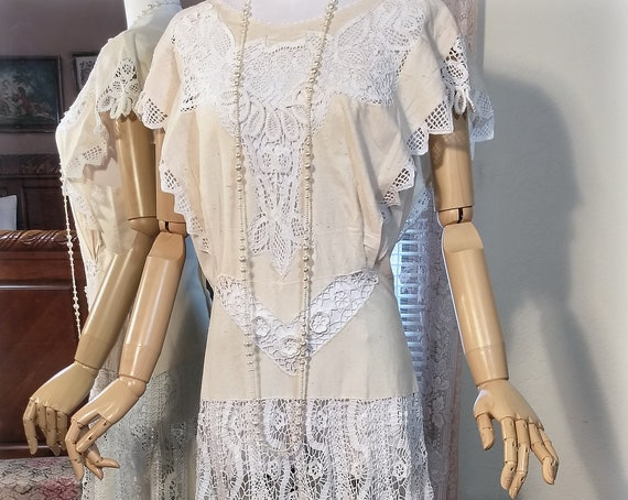 Beautiful Antique Inspired Hand Crocheted Hand Embroidered NWOT Super Feminine Wedding or Garden Party Dress