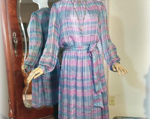 Classic Vintage Boho 70s 80s Silk Long Dress / The Silk Farm Designed by Icinoo / Full Length / Aqua and Lilac Silk / Mother of the Bride
