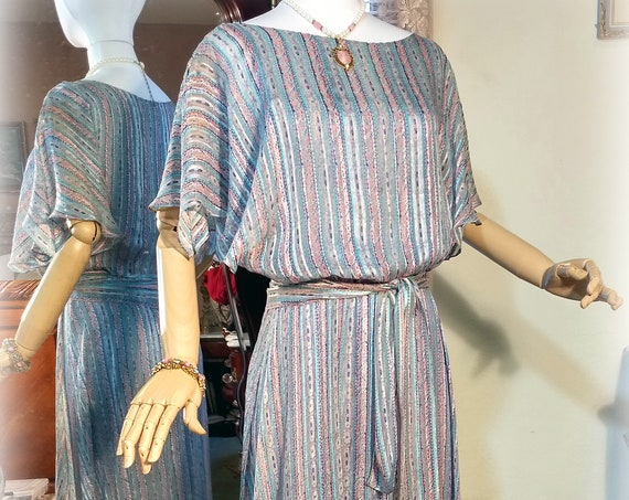 Exquisite Vintage 70s-80s Does 30s Dress / The Silk Farm Designed by Icinoo / Multilayered / Pink and Blue Sheer Silk / Handkerchief Hem