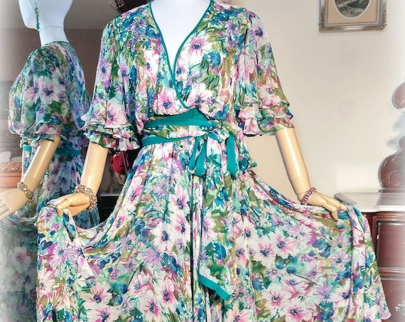 Fabulous Vintage 70s-80s Pure Silk / Designer Diane Freis / Teal Pink Garden Party Dress and Scarf / Multilayered Skirt / Silk Georgette