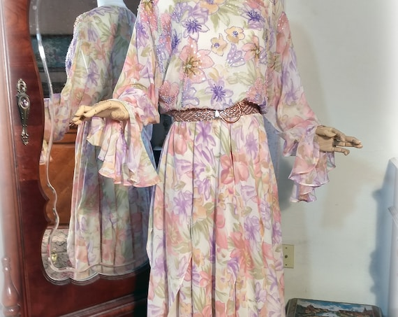 Beaded Vintage 70s-80s Silk / Designer Diane Freis / Pastel Floral Garden Party Dress / Multi Paneled Skirt / Silk Georgette/ Large Size