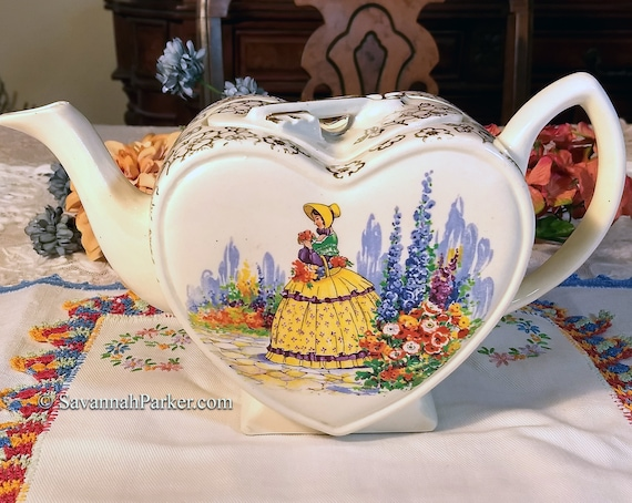 RARE Vintage Heart Shape Crinoline Lady Lingard Webster England Teapot, Colorful Scene, Gold Lustre Chintz, Shabby Chic Decor