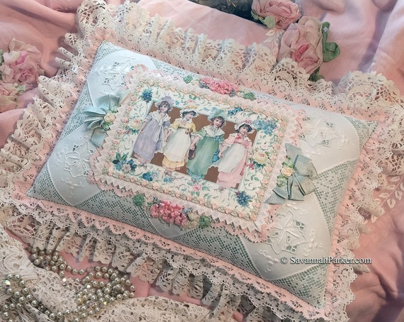 Exquisite Romantic Antique Lace and Silk Ribbonwork Handsewn Pillow - Gorgeous Shabby Chic Cottage - All Antique Laces - White Aqua Pink