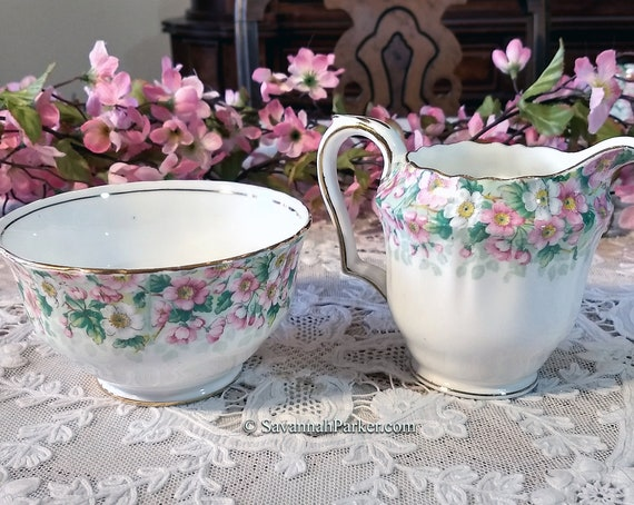 """Charming Vintage Crown Staffordshire """"Maytime"""" 2 pc Large Size Sugar Bowl and Creamer, Pink and Green Apple Blossoms, Shabby Chic Decor"""