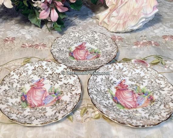 3 Vintage PINKIE Crinoline Lady English Bone China Tea Plates with 22KT Gold, Bridal Shower Wedding Gift, Shabby Chic Cottage Decor