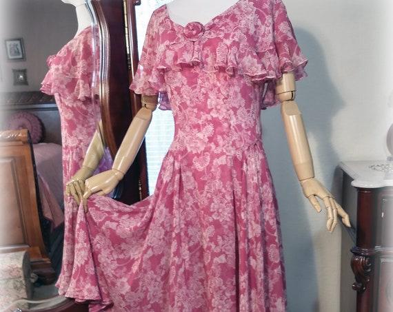 Fabulous Vintage 20s-30s Inspired Silk Chiffon Designer Nancy Johnson Raspberry Rose Pink Super Feminine Garden Party Dress