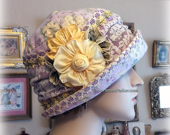 1920s Antique Style Gatsby Flapper Hat Downton Abbey Lavender and Yellow Summer Cloche Hat - Ready to Ship - Antique Lace -Ribbonwork Flower