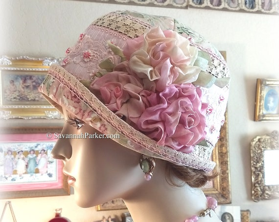 Antique Style 20s Gatsby Flapper Hat Downton Abbey Pink Rose and Ecru Summer Cloche Hat - Ready to Ship - Antique Lace - Handmade Silk Roses