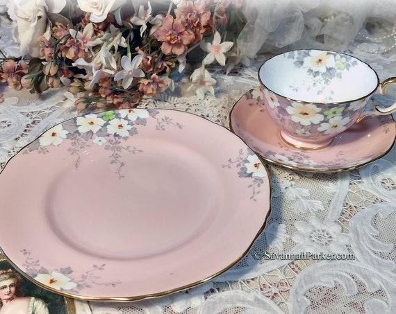 Rare Vintage Crown Staffordshire Blush Pink 3 piece Bone China Tea Trio, Bridal Shower Wedding Gift, Shabby Cottage Chic, Handpainted
