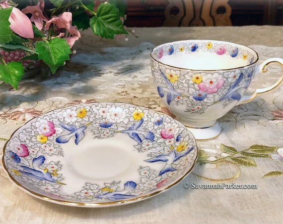 Lovely Vintage Hand Painted Bluebirds Tuscan English Bone China, Cup, Saucer, Handpainted Flowers, Shabby Chic Deco Cottage