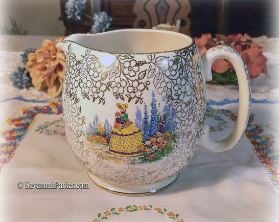 SADLER Vintage Crinoline Lady China England Large Milk Jug, Gold Lustre Chintz, Southern Belles, Shabby Chic Decor