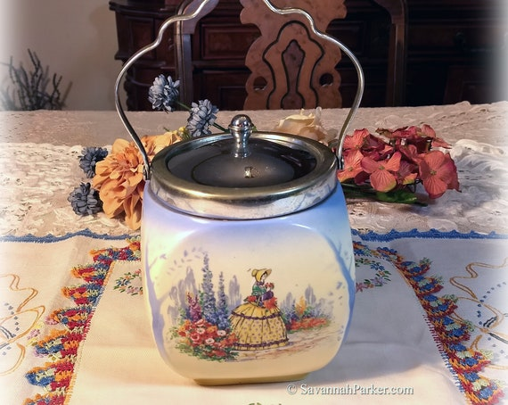 RARE Fab Vintage Crinoline Lady China Lancaster Sandland England Large Biscuit Barrel/Tea Caddy, Vivid Colors, Shabby Chic Decor