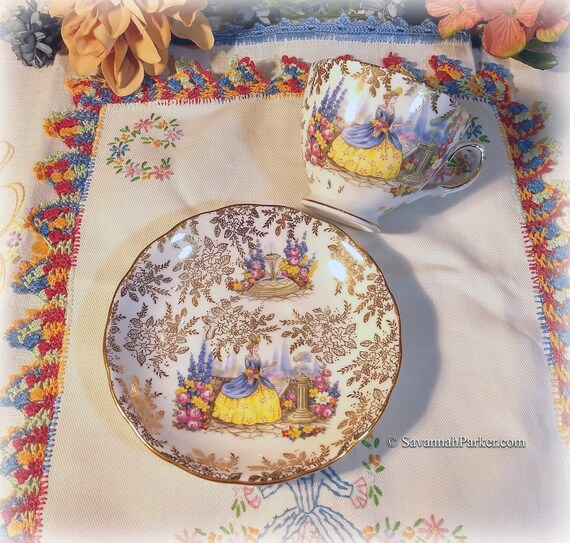 Lovely Crinoline Lady Vintage Colclough English Bone China, Cup, Saucer, Vivid Crinoline Lady Scene, Gold Lustre Chintz, Shabby Chic Cottage