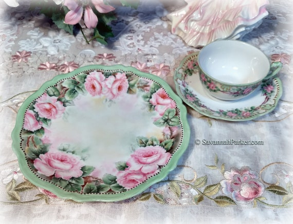 Exquisite Hand Painted Roses Antique French and Austrian China Tea Trio, Cup, Saucer, Large Luncheon Plate, Shabby Chic Cottage Decor