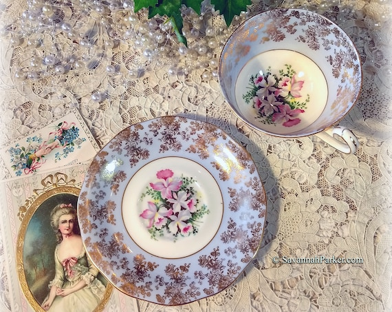 Lovely Vintage Blue and Gold Queen Anne English Bone China Set, Cup and Saucer, Orchid Flowers, Gold Lace Design, Bridesmaid Gift