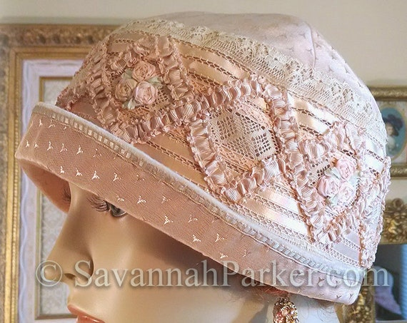 Antique Style 1920s Gatsby Flapper Hat Ribbonwork Downton Abbey Silk Cloche Hat - Antique Lace - Silk Ribbonwork Cloche Hat - Made to Order