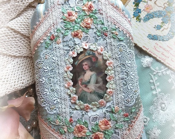 Exquisite Handmade Marie Antoinette Rococo Silk Ribbonwork Roses Cell Phone Case Eyeglass Case Pouch- Silk Ribbonwork Hand Embroidery