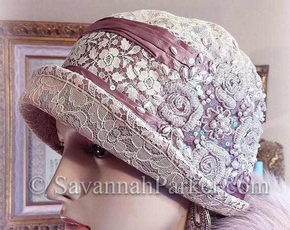 Antique Style 1920s Flapper Downton Abbey Cloche  Antique Lace Mauve Silk Cloche Hat - Ready to Ship - Beaded Hat - Antique Lace Cloche Hat