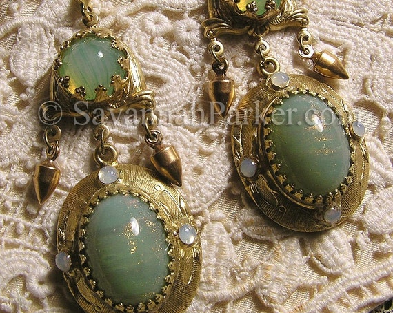 Antique Style Victorian Edwardian Earrings - Celadon Green Glittering Art Glass