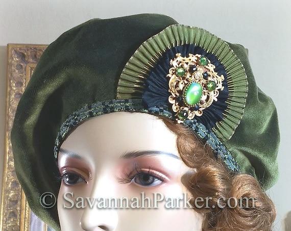 1920s Vintage Style French Silk Velvet Beret - Ready to Ship - Tam Hat - Silk Velvet French Bohemian Hat - Jeweled Antique Ornament ~ Beret