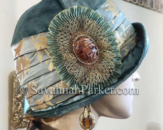 1920s Antique Style Flapper Downton Abbey Silk Velvet Cloche - Cloche Hat - Ready to Ship - Silk Gatsby Hat - Jeweled Cloche Hat