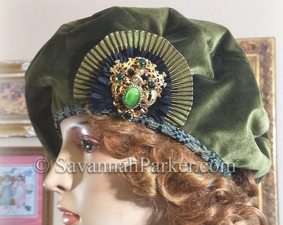 1920s Vintage Style French Silk Velvet Beret - Ready to Ship - Tam Hat - Silk Velvet French Bohemian Hat - Jeweled Antique Ornament ~ Beret