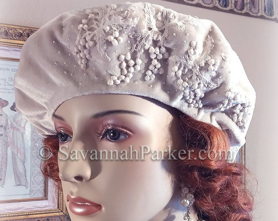 1920s Vintage Style French Silk Velvet Beret - Tam Hat - Made to Order - Silk Velvet Antique Style Hat - Beaded Antique Lace Beret Hat