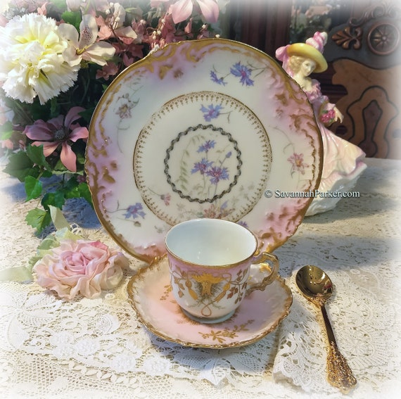 Breathtaking Antique Limoges France Hand Painted Pink and Blue w Heavy Gold China Tea Trio, Cup, Saucer, Luncheon Plate ~ Shabby Chic