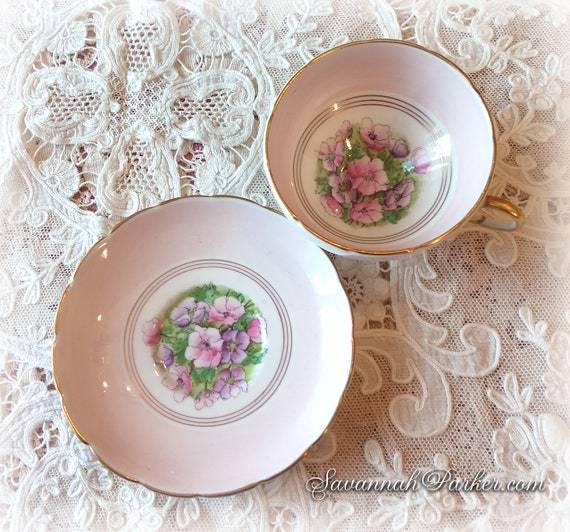 Lovely Pale Pink and Lilac Floral Vintage English Bone China Set, Foley Bone China, Cup and Saucer, Handpainted Flowers, Shabby Chic Deco