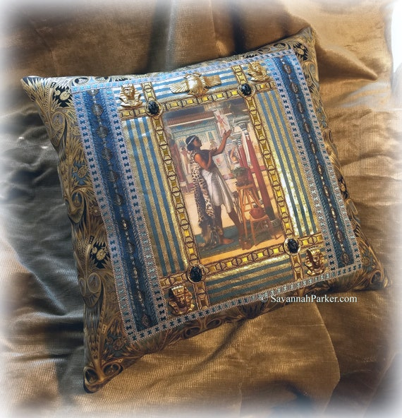 Antique Style FABULOUS Jeweled Ancient Egyptian Inspired One of a Kind Pillow - Antique Metallic Trims - Antique Egyptian Jeweled Ornaments