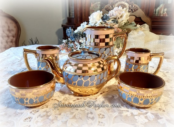 Gorgeous 6 PC Vintage Sadler England Breakfast Tea Set Hand Painted Blush Pink, Blue, Gold Small Teapot, Lg and Small Pitchers, Small Bowls
