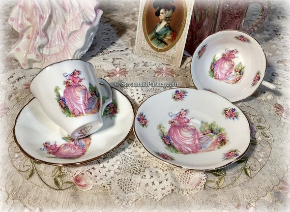 """Charming Vintage Set of 2 """"Pinkie"""" English Bone China Teacups and Saucers, Crinoline Ladies, Cup, Saucer, Shabby Chic, Cottage Chic"""