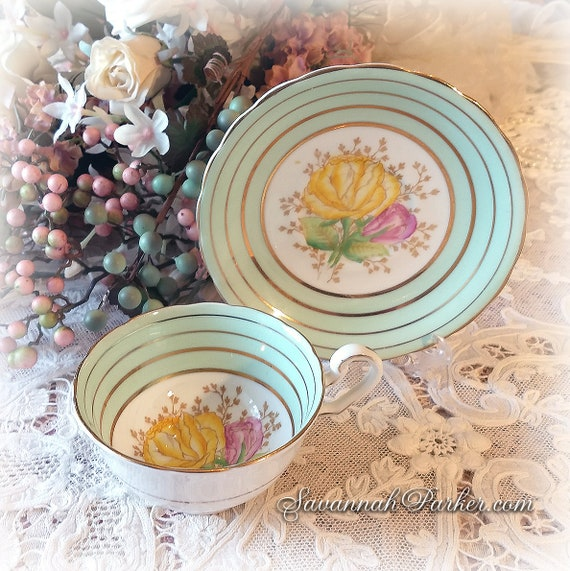 Exquisite Mint Green Vintage English Bone China Set, Victoria C and E Bone China, Cup, Saucer, Handpainted Flowers, Shabby Chic Deco