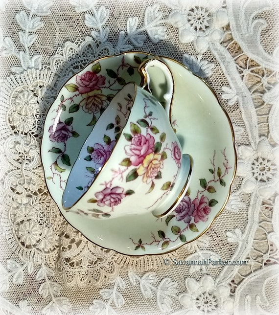 Mint Green and Pink Vintage Adderley English Bone China, Cup, Saucer, Handpainted Flowers, Shabby Chic Deco Cottage