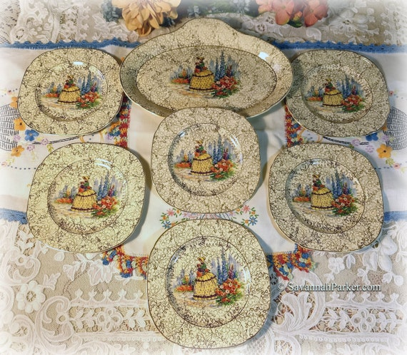 Lovely Rare Vintage 1930's Crinoline Lady Tunstall England Set of 6 Plates and Oval Tray, Vivid Colors, Southern Belles, Bohemian Decor