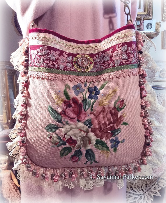 Bohemian PINK Vintage Style Handmade Needlepoint Victorian Edwardian BIG Purse Shoulder Bag, Crossbody Bag, Jeweled Ornament, Antique Trims