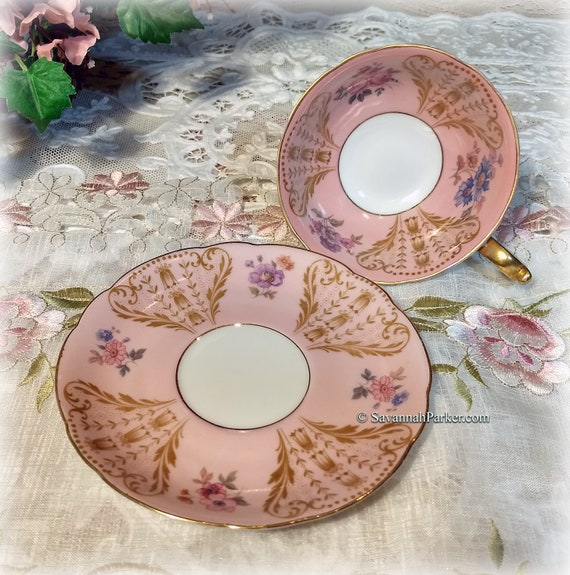 Beautiful Vintage Blush Pink Royal Bayreuth Bavarian China Pink Cup and Saucer, Shabby Chic Cottage Decor