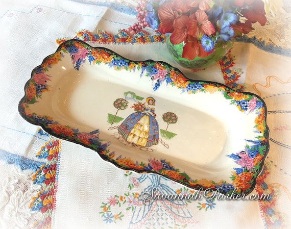 Gorgeous Rare Vintage 1930's H and K Tunstall Crinoline Lady Large Tray, Vivid Colors, Southern Belles, Handpainted, Bohemian Decor