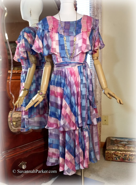 Beautiful Vintage 70s-80s Silk Chiffon Dress / The Silk Farm Designed by Icinoo / Multilayered / Pink and Blue / Multi Tiered Bias Skirt