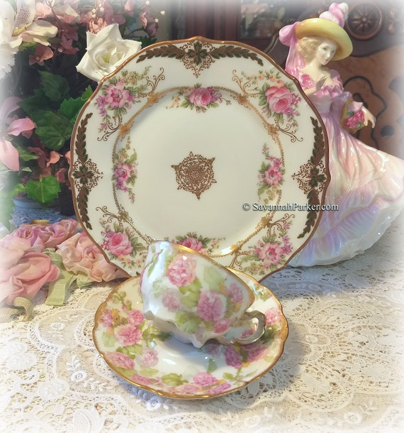 Dainty Antique Limoges France Pink Roses Green and Gold China Tea Trio, Cup, Saucer, Luncheon Plate ~ Hand Applied Gold ~ Shabby Chic