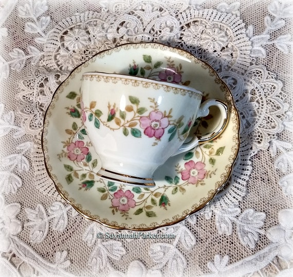 Sweet Yellow and Pink Vintage Plant Tuscan English Bone China, Demi size Cup, Saucer, Handpainted Flowers, Shabby Chic Deco Cottage