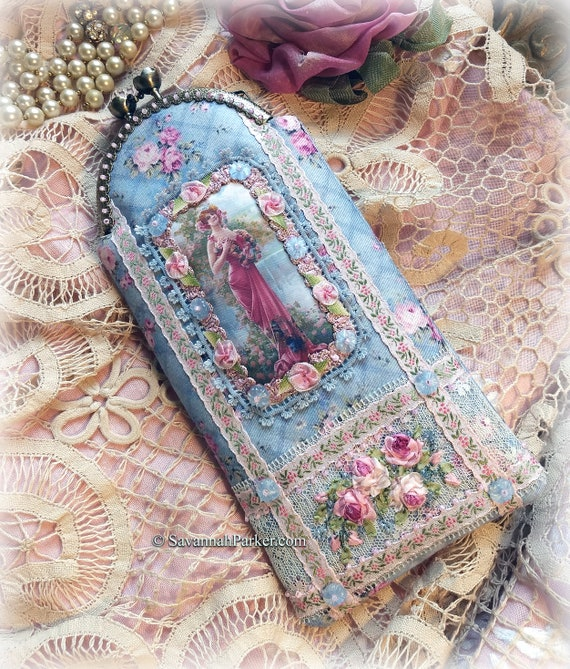 Antique Style Handmade Victorian Ribbonwork Roses Phone Case Eyeglass Case Pouch, Silk Ribbon Embroidery Purse, Cell Case, Glasses Case