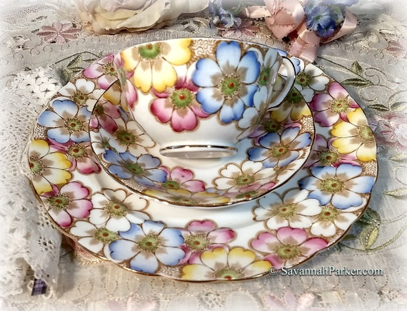 "Gorgeous Vintage ""Annette"" Victoria C and E Bone China Handpainted Pink Blue Yellow Vintage Bone China Tea Trio, Cup, Saucer, Luncheon Plate"