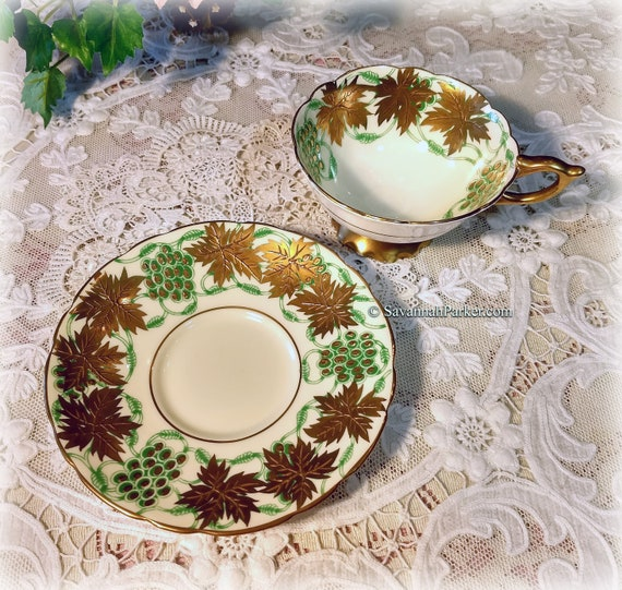 Stunning Vintage Royal Stafford La Vigne D'Or English Bone China Cup and Saucer set - Heavy Gold Gilding - Rich Detailed Design