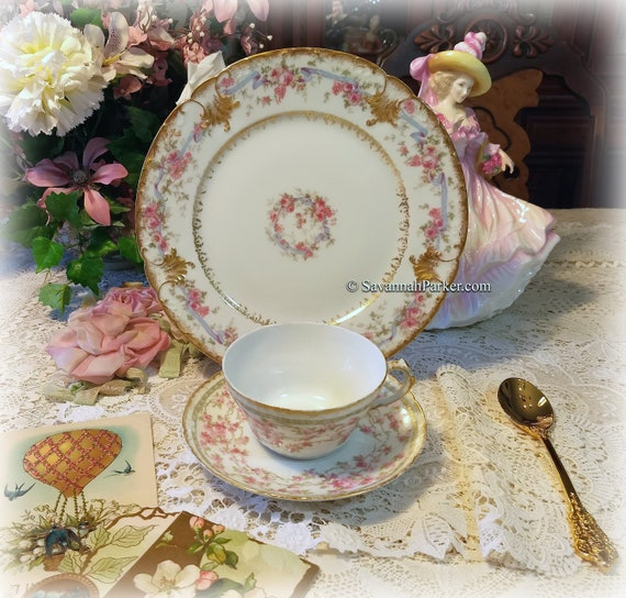 Lovely Antique Limoges France Garlands of Pink Roses China Tea Trio, Cup, Saucer, Luncheon Plate ~ Hand Applied Gold ~ Shabby Chic