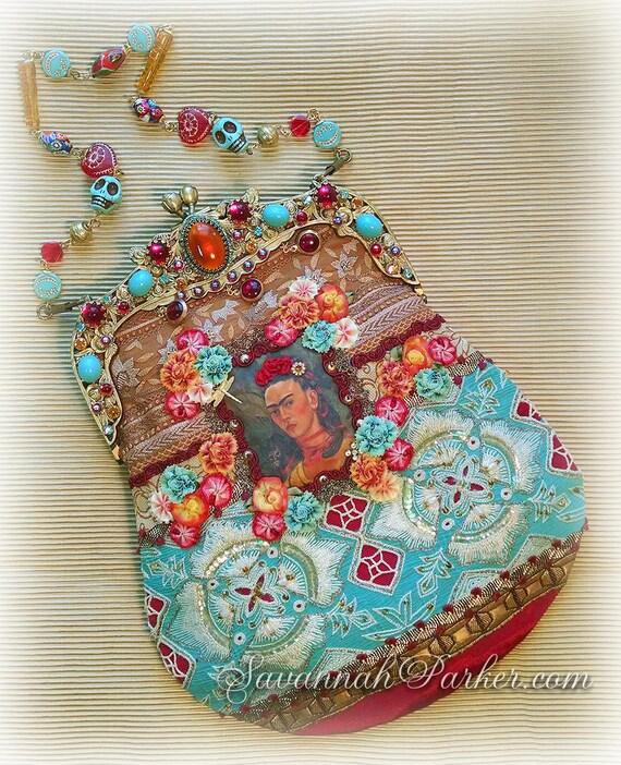 "BREATHTAKING ""Reflections of Frida Kahlo III"" Jeweled Hand Embroidered Silk Purse - Jeweled Frame -Ribbonwork Beaded Flowers - Jeweled Chain"