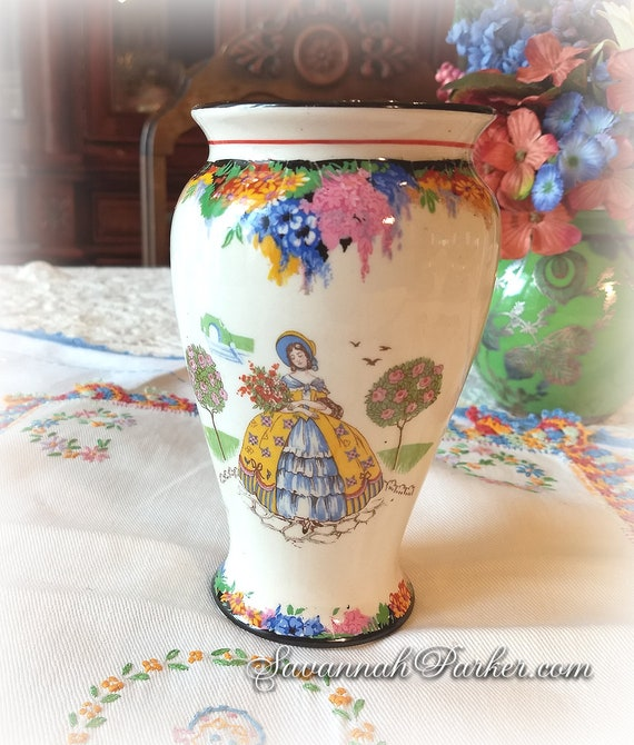 Wonderful Rare Vintage 1930's H and K Tunstall Crinoline Lady Vase, Vivid Colors, Southern Belles, Handpainted, Bohemian Decor